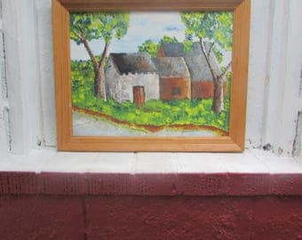 Vintage Signed Small Oil on Canvas, Artist Signed and in Simple Wooden Frame