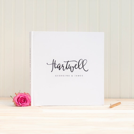 Wedding Guest Book wedding album guestbook 12x12 personalized names hardcover guestbook planner lined black pages instant photo booth square