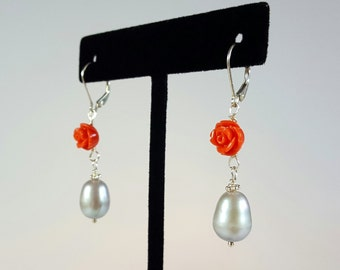 Silver Freshwater pearl earrings with hand carved roses