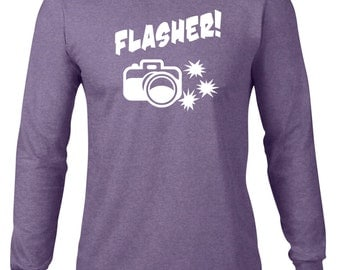 CLEARANCE FINAL SALE Long Sleeve Shirt, Funny T Shirt, Flasher Tshirt, Photography Gift, Tee, Photographer, Ringspun Cotton, Funny Tee