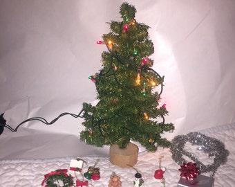 Dollhouse Miniatures christmas tree ornaments garland lights