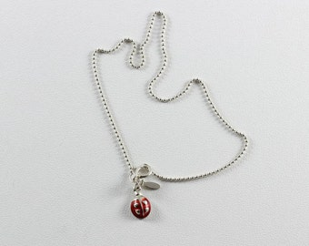 Sterling Silver Lady Bug Anklet