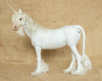 Made to Order Needle Felted Unicorn: Custom needle felted animal sculpture