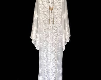Off white Lace kimono jacket, unlined robe, different lengths available