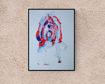 Dog art:  Shih Tzu, original art, hand-signed, unique piece,