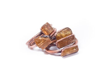 Raw Topaz ring | Topaz crystal ring| Imperial Topaz Ring | Raw Topaz crystal ring | Topaz and Copper Ring