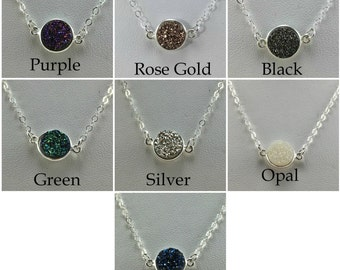 Sterling Silver Druzy Choker Necklace/Several Colors