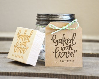 Baked with Love Rubber Stamp, With or Without Personalized Name. For Wedding Favors Tag with Wedding Date. Baked Goods Gift Tag Stamp