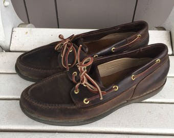 """Dark Brown Leather 'Rockport' Boat Shoes / Loafers / Men's Size 11 1/2""""  made in Brazil"""