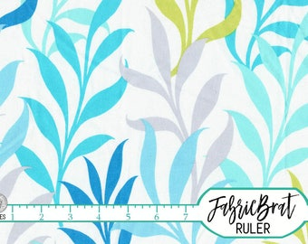 AQUA & GRAY LEAF Fabric by the Yard, Fat Quarter Tall Leaves Fabric Seaweed Fabric Quilting Fabric 100% Cotton Fabric Apparel Fabric a3-6