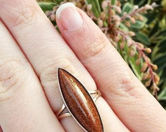 SALE! Antique Victorian Edwardian Striking Long Navette Goldstone Ring / Size O 1/2