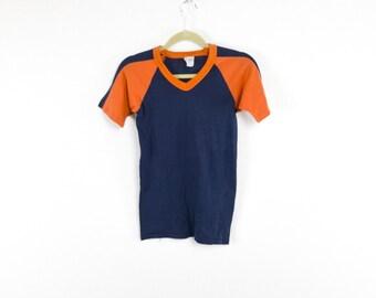 Sporty Orange & Navy Color Block V-Neck Tee