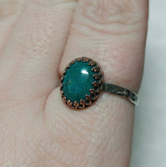 Ocean Blue Stone Ring | Antique Brass Ring | Chrysocolla Ring | Sterling Silver Ring Sz 11 | Blue Green Gemstone Ring | Mixed Metal Ring
