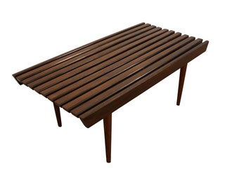 Mid Century Danish Modern Walnut Slat Bench/Coffee Table #4