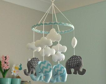 BABY BOY MOBILE - Nursery Mobile - Blue Grey Mobile -  Elephant Mobile - Chevron Polka Dot Mobile - Made To Order
