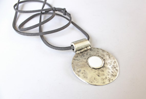 Bohemian necklace, white statement necklace, ancient greek amulet, white resin necklace, hammered silver round pendant, boho chic jewelry