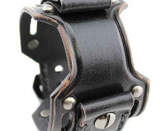 Custom Leather Cuff for Your OWN WATCH, BlackThrottle Watch Cuff, Custom Watch Cuff