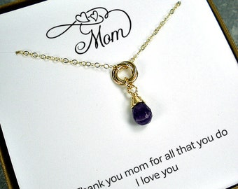 Mom Necklace - Gifts for Mom - Mothers Day Gift - Mom Birthday Gift - Mom Gifts - Circle Necklace - Interlocking, Ring, 14k Gold Filled