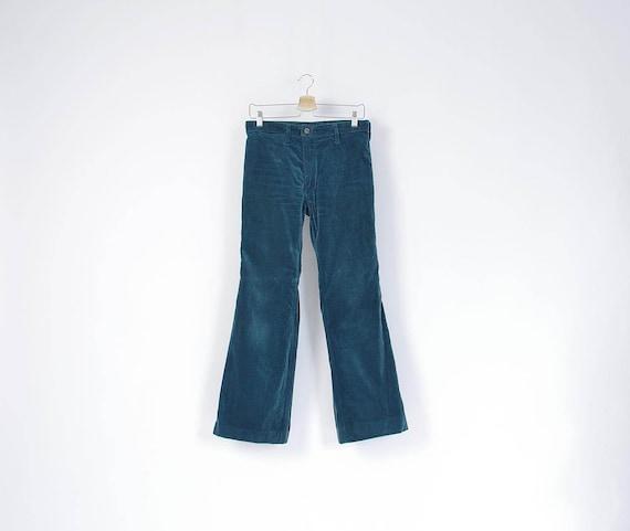 SALE! 70s Wrangler Blue Bell Emerald Green Velvet Flares / Size 29 or 30