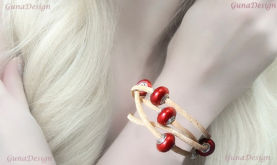 Wrapped Bracelet from Cork Cord with Red Beads by GunaDesign