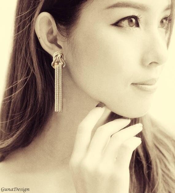 Long Vintage Earrings with Rhinestones