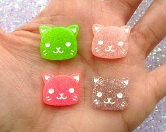 4 pcs - Small Kawaii Glitter Kitty Cat Kitten Resin Flatback Cabochon - 19mm - 4 Colors - Meow - Feline - Decoden - DIY - Scrapbooking