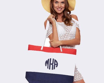 Fabulous Beach Tote in Navy and Red with Embroidery Personalization