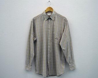 Trussardi Shirt Trussardi Button Down Shirt Trussardi Plaid Shirt Made in Italy Mens Size L