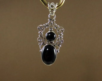 Vintage Inspired Black Onyx Pendant, Black Onyx Necklace, Silver Pendant,  Onyx Jewelry, Gift for Her