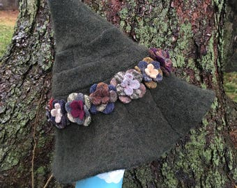 Witch Hat, Wizard Hat, Upcycled Accessories, Wool Felt, Magic Hat,Pointed Hat