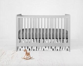 Straight Crib Skirt Black and Grey Feathers. Baby Bedding. Crib Bedding. Crib Skirt.