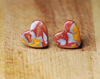 Heart Stud Earrings - Mokume Gane - Polymer Clay Earrings - Mixed Metal Jewellery - Gold Silver Copper Rose Gold Earrings - Gift 2017