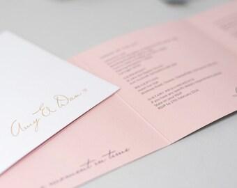 Romantic pink and gold foil wedding invitation. Elegant pale pink tri-fold simple wedding invitations on luxury textured card