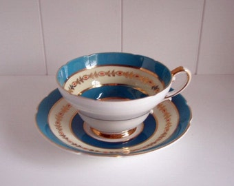 Vintage Stanley Fine Bone China England Tea Cup and Saucer Set Teal, Gold, and White