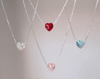 Small Heart Necklace, Swarovski Crystal Heart Necklace,  Red Heart Necklace, Blue Heart Necklace, Pink Heart Necklace, Tiny Heart Necklace