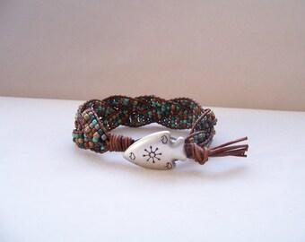 Arrowhead Beaded Braided Leather Wrap Cuff Bracelet, Tribal Bracelet, Tribal Jewelry, Leather Jewelry, Rustic Leather Bracelet