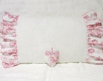WHITE LINEN PILLOWCASE Shabby Chic Shams Natural Romantic Sham Soft Linen Bedding Stonewashed White Linen Ruffled Pillowcase with Lace