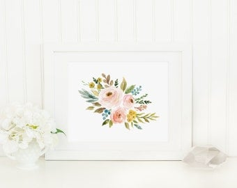 Spring Floral Printable Blush Flowers Pink Nursery Decor Blush Floral Print Pastel Nursery Wall Art Flower Bouquet Watercolor Flowers 233