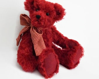 "Theo - OOAK Mohair Teddy Bear, jointed artist teddy bear, red mohair fabric teddy bear, 13"" stuffed bear doll, collectible stuffed animal"