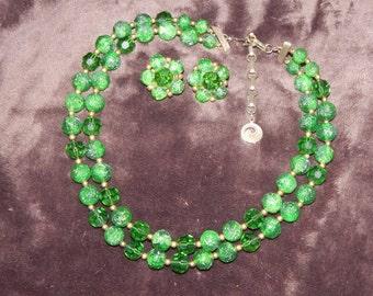 Vintage Lisner Set, Green Lisner Necklace, Vintage Lisner Cluster Earrings, Vintage Plastic Jewelry Set Green Signed Lisner