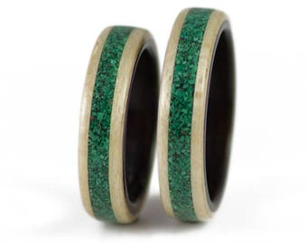 Wooden Rings In Maple, Ebony, Malachite - matching couples rings, couples wedding rings, wooden wedding ring, handmade ring, commitment ring