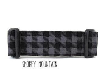 Boy Dog Collar, Plaid Dog Collar, Buffalo Plaid Dog Collar, Lumberjack Dog Collar, Gray Plaid (Upgrade to Metal Buckle or Martingale)