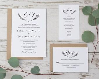 SALE Rustic Wedding Invitation Template, Printable Wedding Invitation Suite, Monogram Wedding Invitation Set, DIY Wedding Invitations