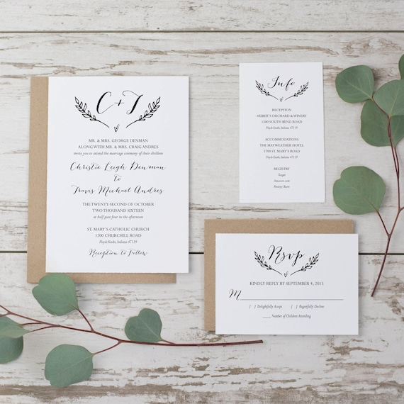 SALE Rustic Wedding Invitation Template Printable Wedding