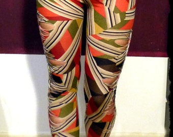 XS-S , abstract Legging - cutout Festival Yoga Leggings by Black Cat Design