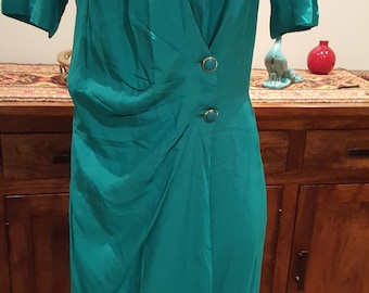 Vintage 80's does 40's  wrap button jade green day secretary work dress