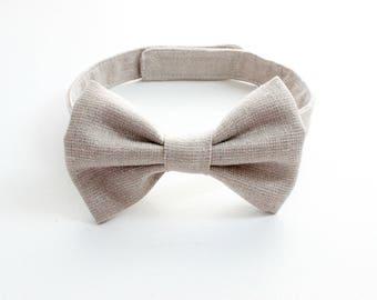 Beige Metallic Linen/Cotton Baby Bow tie, Baby boy bow tie, bowtie, Boys Bow Tie, Boys Bow Tie, children's bowtie