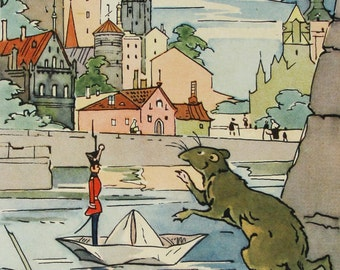 The Steadfast Tin Soldier - Hans Christian Andersen - Vintage Soviet Postcard, Artist Alfeevsky, 1963. Fairy tale, Paper boat, Rat, City