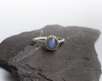 Blue Labradorite Rope Band Sterling Silver Ring  ~ statement ring, gemstone ring, textured ring, solitaire ring, crown ring