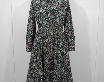 Vintage 1950s Black Floral Print Belted Fit And Flare Dress / Small / 50s Bombshell Rockabilly House Dress